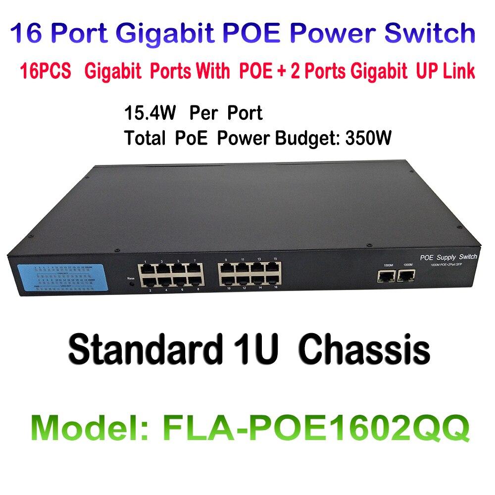 16 Puerto 10/100/1000M Interruptor Fast Ethernet Conmutador PoE IEEE 802.3af Más 2ch 1000M De Enlace 16CH Interruptor De POE Para POE Cámara IP ONVIF