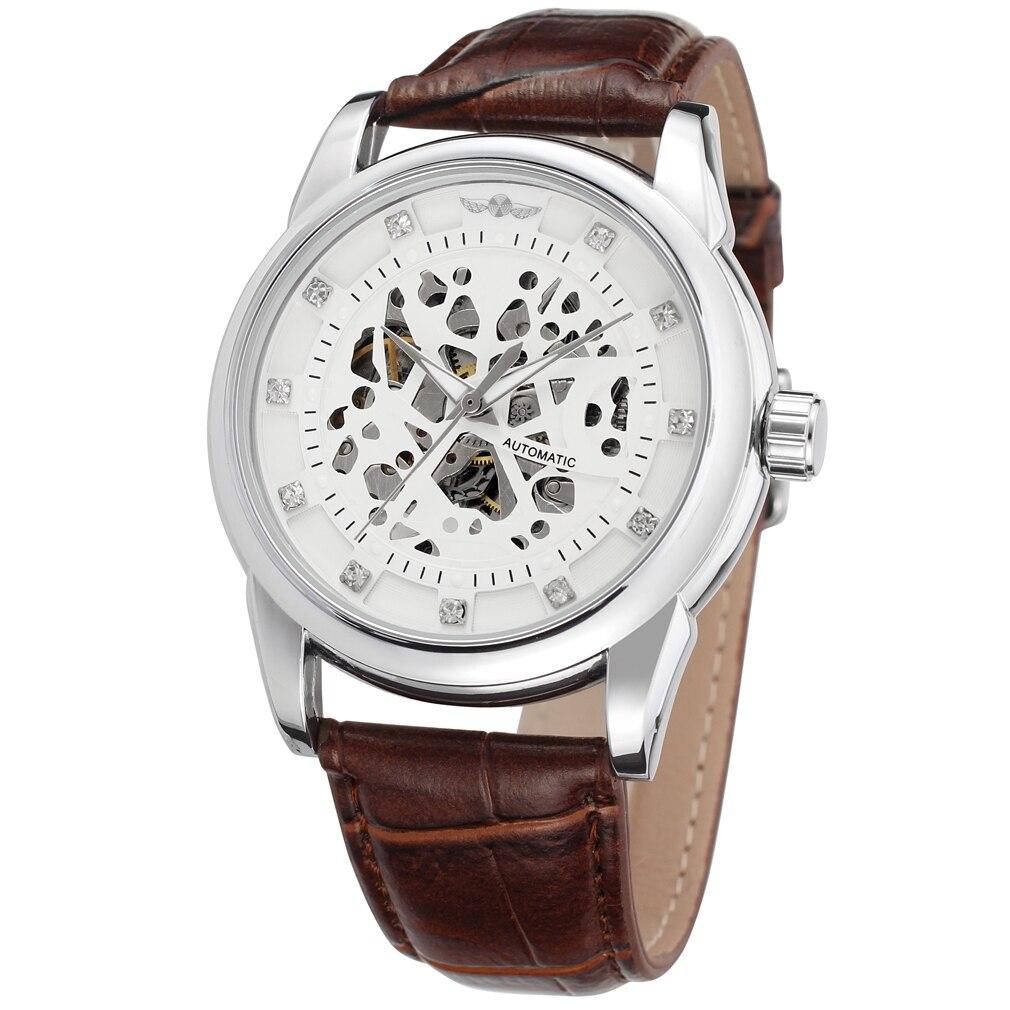 flor padrão pulseira de couro marrom relógio automático masculino