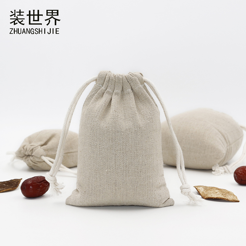 19.5*22.5cm Custom Logo Print Cotton Linen Bag Pouch Drawstring Bags Christmas Jewelry Pouches Shoes Bag