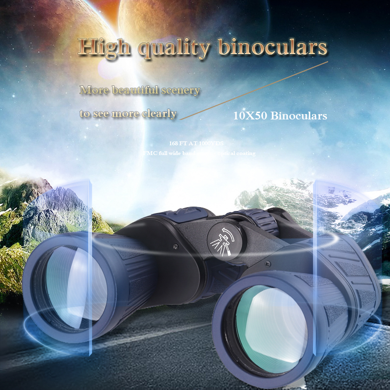 Military 10x50 Portable Russian Binoculars Professional Hunting Telescope Zoom High Quality Vision No Infrared Plastic lucky zoom russian military metal 6x24 times binoculars telescope high clarity observation optical red film binoculars