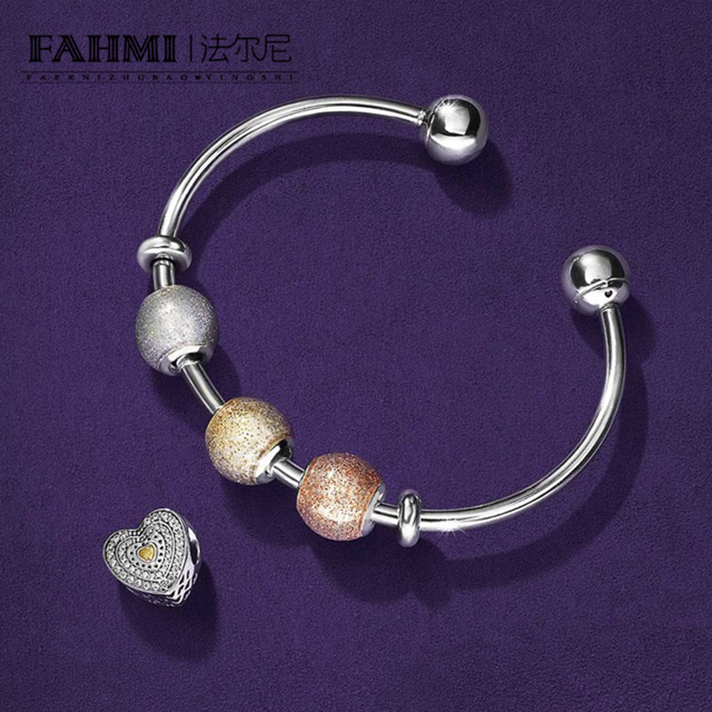 FAHMI 925 Sterling Silver heart-shaped Lovers Jewelry Clear CZ Charm Bead fit pendant DIY Bangles Set Betrothal Bracelet personalized photo engraved bracelet heart charm pendant bracelet sterling silver jewelry gift for lovers