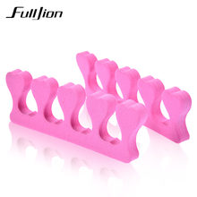 Fulljion 2Pcs/set Finger Toe Separator Soft Foam Sponge Nails Dividers Nail Art Tips Manicure Pedicure Nail Gel Tools Pink Color(China)