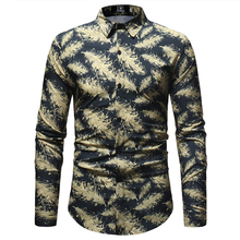 Mens Business Printing Shirt 2018 Autumn New Fashion Casual Lapel Feather Print Long-sleeved Blouse Tops Male