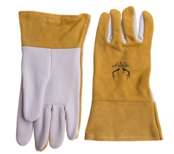 цена на Deer Skin TIG Welding Glove Argon Arc Welding Safety Gloves Deerskin Leather Welding Work Glove