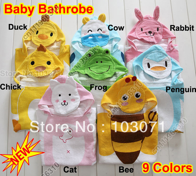 Best Selling--Baby Kid Child Toddler Soft Cotton Cartoon Animal Bathrobe Bath Towel Bath Beach Costume Coat Wrap Hooded Robe