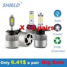 10 пар в комплекте; H7 H1 H3 H4 H11 9005 9007 9006 светодиодный головной светильник s лампы 6500 к 8000lm 12V 72W фары для автомобиля, светодиодный головной светильник s супер яркий светодиодный светильник лампы S2