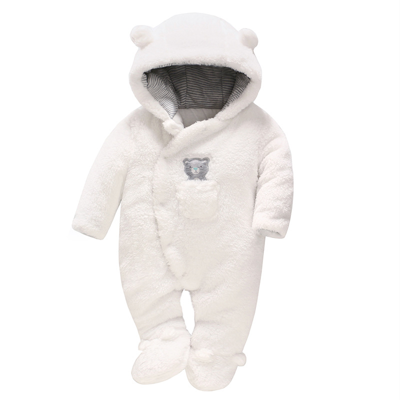 Picturesque Childhood 2019 Winter Clothes Newborn Baby Pure Cotton Romper White Bear Animal Thicken Baby Body Clothing New BornPicturesque Childhood 2019 Winter Clothes Newborn Baby Pure Cotton Romper White Bear Animal Thicken Baby Body Clothing New Born