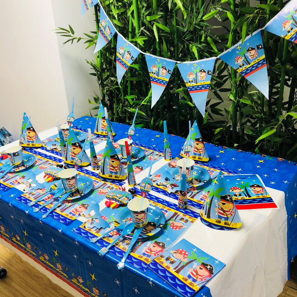 Cartoon Pirates Kids Theme Birthday Party Decoration Straws Plates Cup Tablecloth Flag Knife Fork Spoon hat baby Favors Party in Disposable Party Tableware from Home Garden