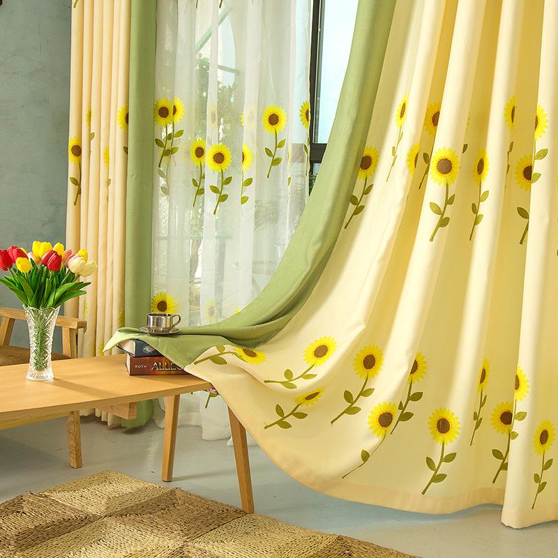 tul cortinas para la sala de cocina de girasol bordado de la ventana cortinas