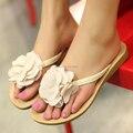 Китайский сладкий принцесса стиль лето лежа для дома дом удобная триггеров цветок дутый сандалии женщины в обувь