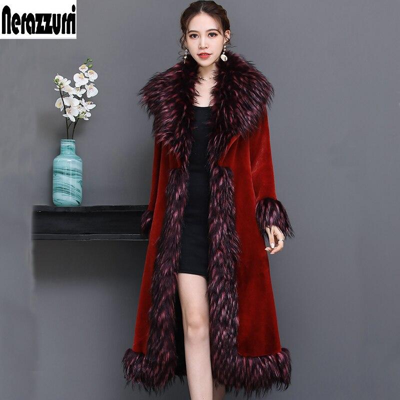 Nerazzurri di pista di Lusso delle donne del cappotto 2018 di inverno rosso pelliccia del faux cappotto di pelliccia delle donne con pelliccia di volpe collare più il formato soprabito 5xl 6xl