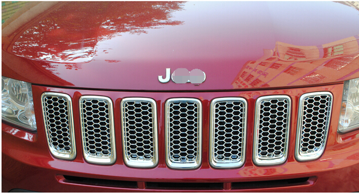 Honeycomb style Front Grille Grill Bezel Cover Trims for Jeep compass 2011 2012 2013 2014 2015 front center grille grill cover trims for toyota senna 2011 2012 2013 2014 2015