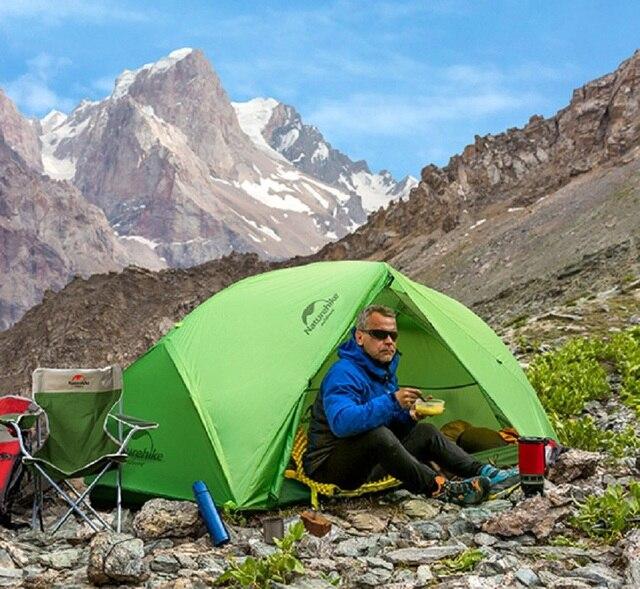 Naturehike 2 Homme Tente de Camping ultra-léger imperméable à l'eau 2 Homme En Plein Air Meilleur Camp Tente 20D Nylon Silicone 4000mm