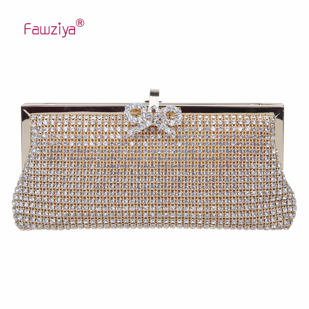 Fawziya New Ladies Shoulder Bag Crystal Evening Clutch With Bows Purses And Handbags