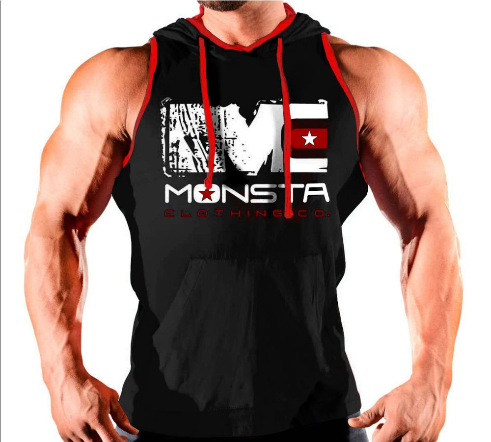 New Brand Gyms Clothing Fitness Men   Tank     Top   with hooded Mens Bodybuilding Stringers   Tank     Tops   workout Singlet Sleeveless Shirt