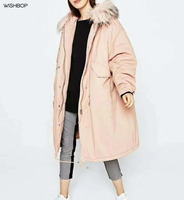 WISHBOP NEW 2017 Winter Pink Oversized Midi Padded Parka Quilted Lining Long Jacket Faux Fur Hooded