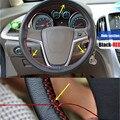 38 cm Cosido À Mão Tampa Da Roda de Direcção Do Carro de Couro em Microfibra de PU Suave Anti-slip Direção Capa Preta Com Trança Linha da agulha