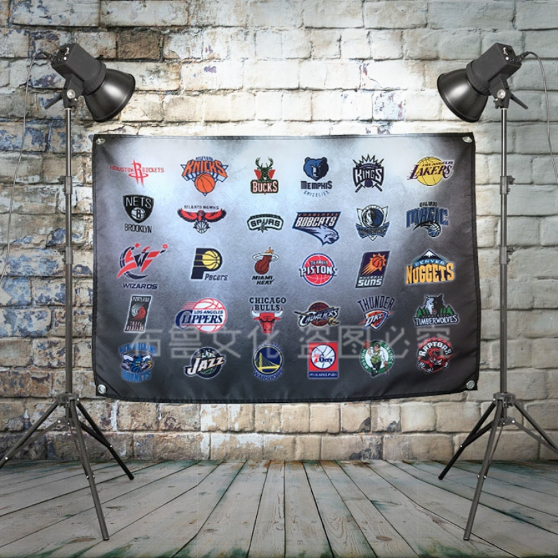 NBA Western Conference Team Logo Bar Cafe Home Decoration Cloth Banners Flags Poster Wall Chart Retro Basketball Print Art image