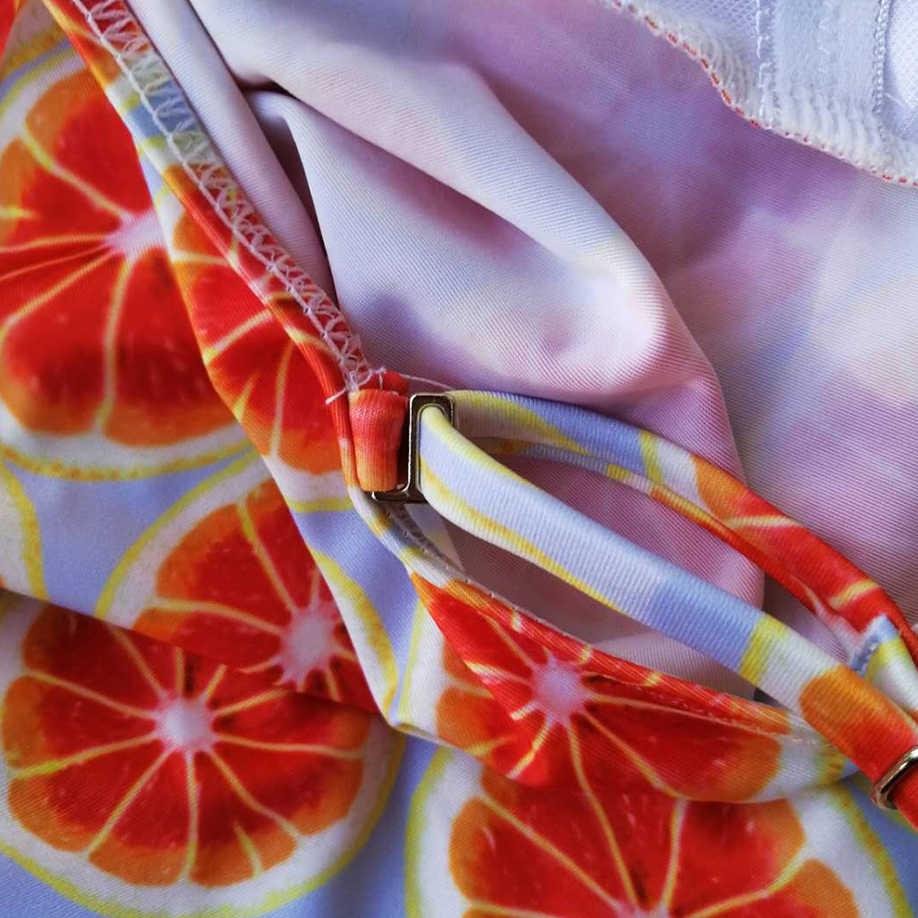 Wanita Kawaii Lucu Oranye Cetak Monokini One Piece Bikini 2019 Baju Renang Pakaian Renang Push Up Baju Mandi Plavky Tankini Biquini Maillot