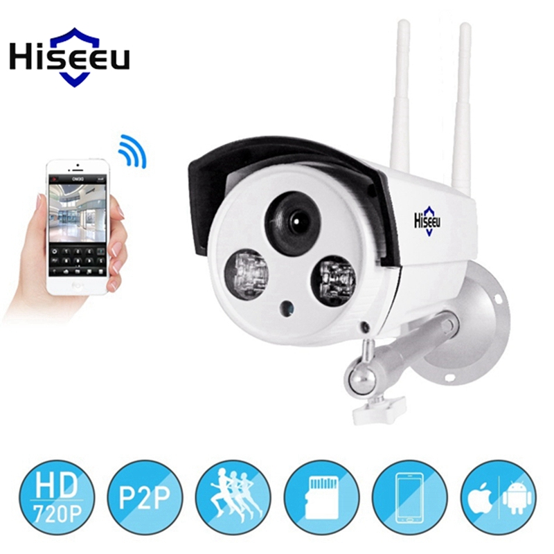 Hiseeu 720P 1.0MP WiFi IP P2P Camera Bullet Outdoor SD Card Storage CCTV Surveillance IR Camera Waterproof Night Vision wistino cctv camera metal housing outdoor use waterproof bullet casing for ip camera hot sale white color cover case
