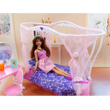 Miniature Furniture Rose Palace Sweet Dream Bed Room for Barbie Doll House Toys for Girl Free