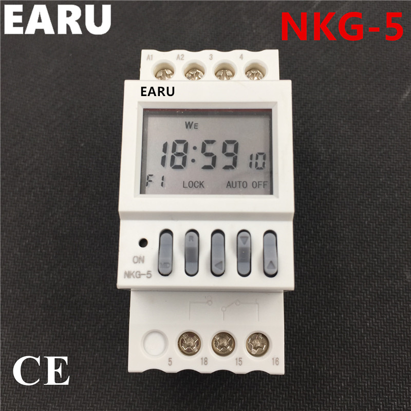 NKG-5 NKG5 Dual Channels Output Digital Microcomputer Time Switch Relay Timer Street Lamp Controller Month Year Cycle Delay 12v timing delay relay module cycle timer digital led dual display 0 999 hours