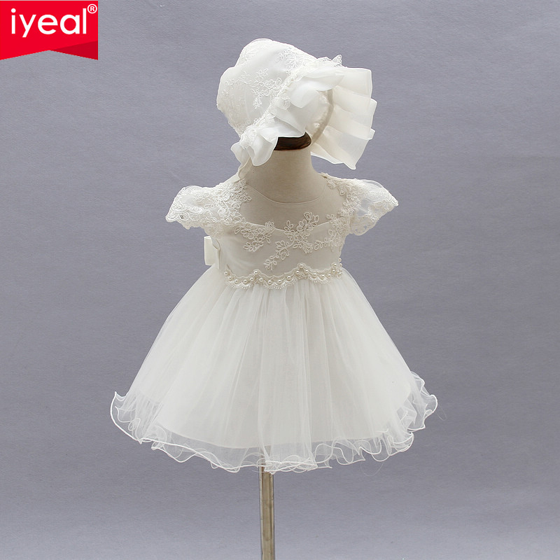 IYEAL Summer Girl Dresses 1 year Birthday Princess Baby Girl Dress Infant Christening Baptism Dress for Newborn Vestido Infantil