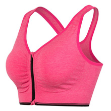 Women Sport Bra S-L One Piece Full Cup Push Up Running Jogging Fitness Yoga Breathable Shockproof Zipper Sports