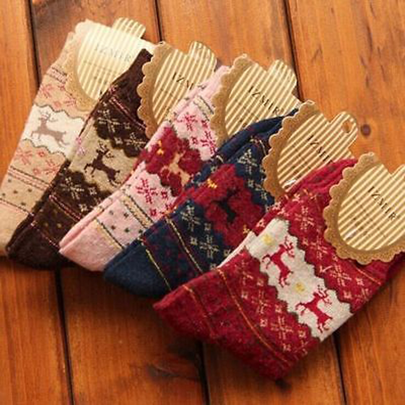 1 Pair Winter Warm Women Soft Wool Christmas Snowflake Deer Long Printing Thick Winter Socks Gift
