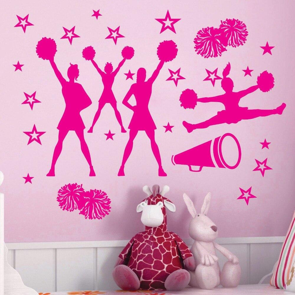CHEER cheering squad Stars Vinyl Wall Decor Cheerleaders Mural Decal Art Cut Home Sticker KW-264