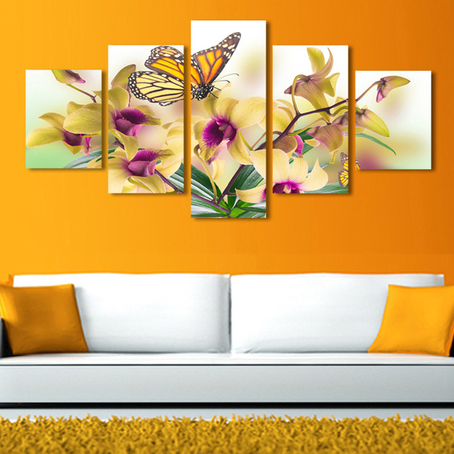 High Quality Spring Landscape Flower Butterfly Canvas Painting Wall ...