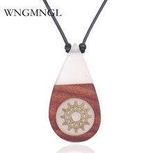 WNGMNGL Vintage Handmade Choker Necklace Fashion Long Statement Leather Rope Wood Resin Pendant Necklaces For Women Jewelry Gift