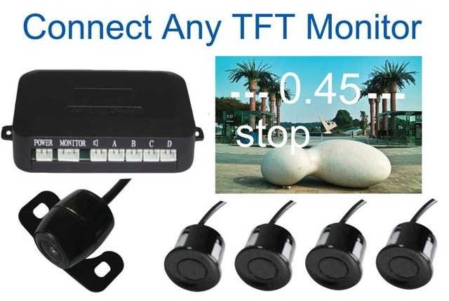 Car Parking Sensor Reverse Backup Radar System, vide parking sensor Auto Reversing Detector4 Sensors with camera