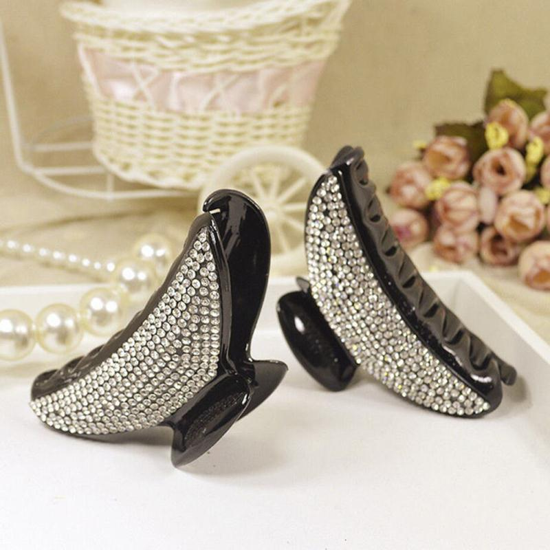 Black Plastic Large Claw Hair Clips Curved Rectangle Hair Clamps For Women Ladies Full Crystal Resin Big Hair Claws