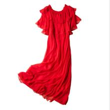 Silk Dresses Women Summer Butterfly Sleeve Red Beach dress 100% silk Long Holiday High Quality Clothing Free Shipping