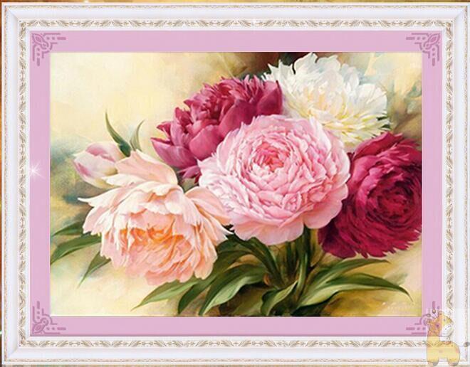 Flores de peonía Diamante redondo Diy 5D pintura diamante kits de - Artes, artesanía y costura - foto 1