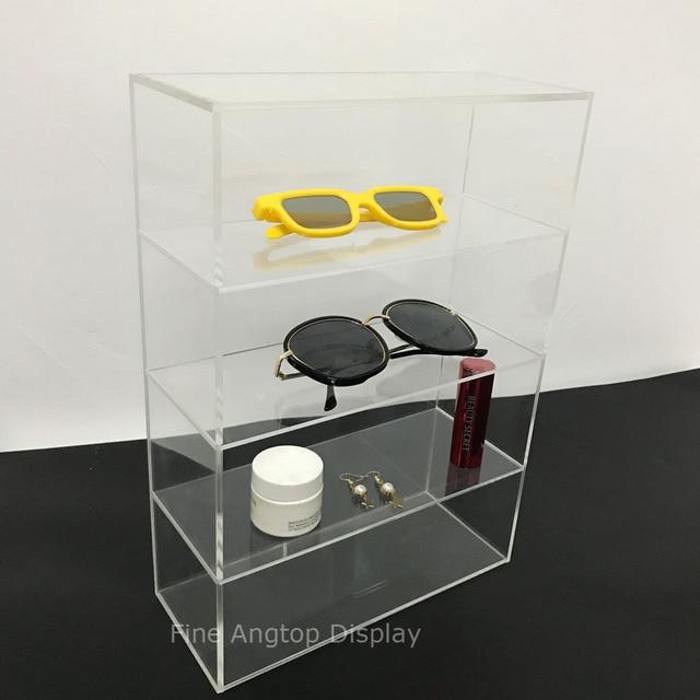 dc0328d695e Modern Clear Acrylic Desktop Cosmetic Storage Organizer Rack 4 Shelf  Sunglasses Eyewear Display Case