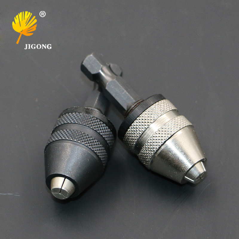 Keyless Drill Chuck Screwdriver Impact Driver Adapter 1/4 '' Hex Shank Drill Bit Tool Sliver Black Color