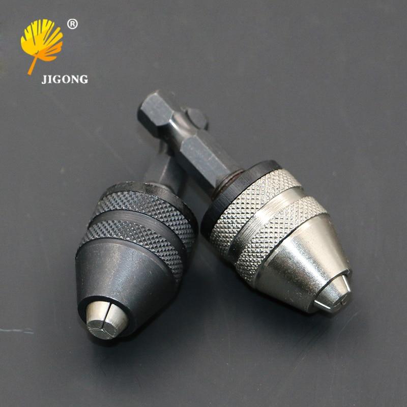 Keyless Drill Chuck Screwdriver Impact Driver Adapter 1/4 '' Hex Shank Drill Bit Tool Sliver Black Color