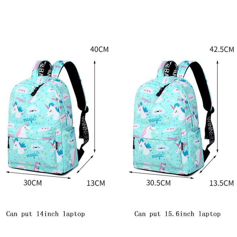 תרמילים - Unicorn Printing Backpack Women Waterproof kawaii Blue ... c037a03477