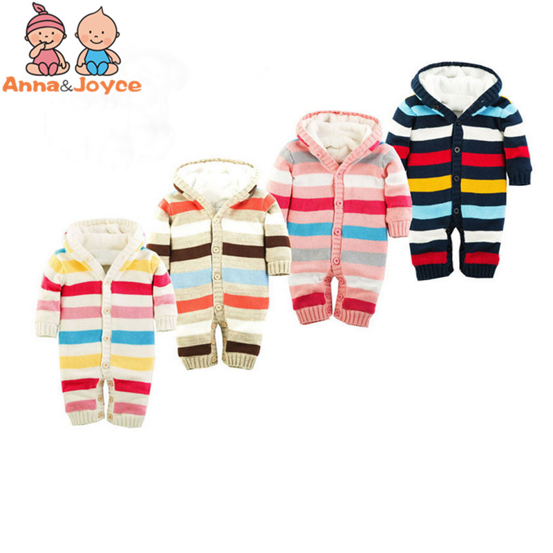 New Stripe Thickening Autumn And Winter Warm Soft Romper Kids Cotton Fashion Climb Clothes ATST0036 thickening soft nap winter warm zebra stripe jacket coat puppy clothes