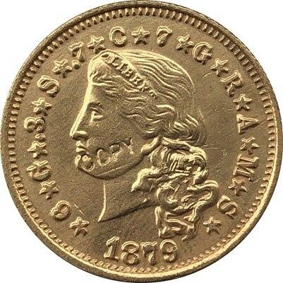 Копии монет оптом США 1879 4 золота 24-k позолоченная копия монет Копер производство