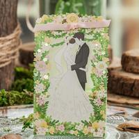 20pcs Pack Romantic Green Lover Gift Bag Elegant Flower Laser Party Event Decoration Sweet Favors Wedding