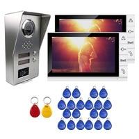 Grenseure FREE SHIPPING 9 Monitor Video Door Phone Intercom System 2 Screens RFID Access Unlock Camera