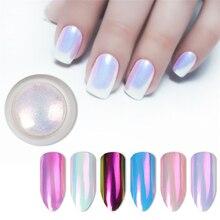 2020 ใหม่เล็บ Glitter Pearl Neon สีชมพู RUB สำหรับเล็บเครื่องประดับ Glitter สีชมพูสีเปลือกผง Mermaid Pearl กระจก