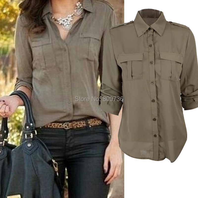 917f240385dafb Fashion Women Button Down Shirt Casual Green Long Sleeve Slim Shirt Tops  Blouse Size S-XL Drop Free