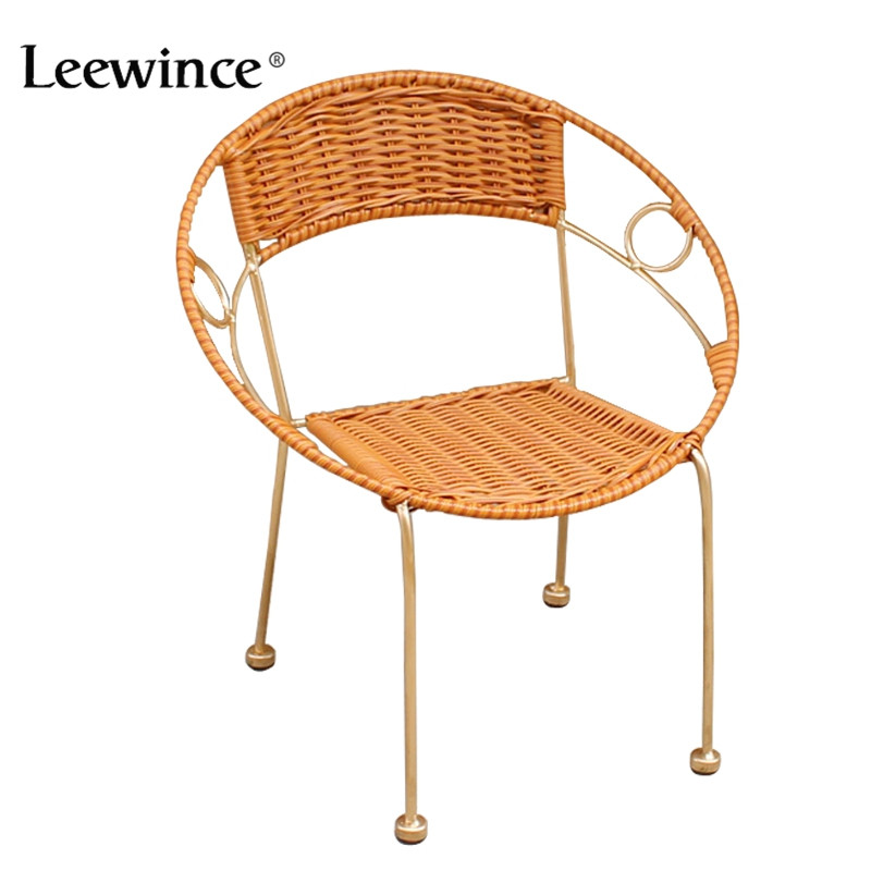 Leewince Furniture Rattan Indoor-Outdoor Restaurant Stack Small Chair Armchair All Weather Outdoor Patio Garden Chairs modern wood rocking chair wooden furniture presidential rocker white finish indoor outdoor balcony porch garden adult armchair