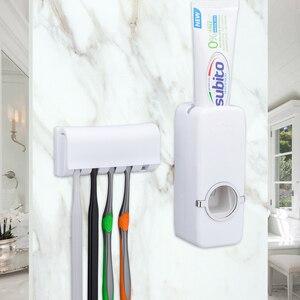 Image 1 - 浴室付属品セット歯ブラシホルダー自動歯磨き粉ディスペンサーホルダー歯ブラシウォールマウントラックバスルームサクションカップツールセット