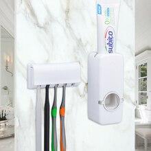 Zestaw akcesoriów łazienkowych uchwyt na szczoteczkę do zębów automatyczny dozownik pasty do zębów uchwyt szczoteczki do zębów wieszak montażu na ścianie narzędzia łazienkowe zestaw