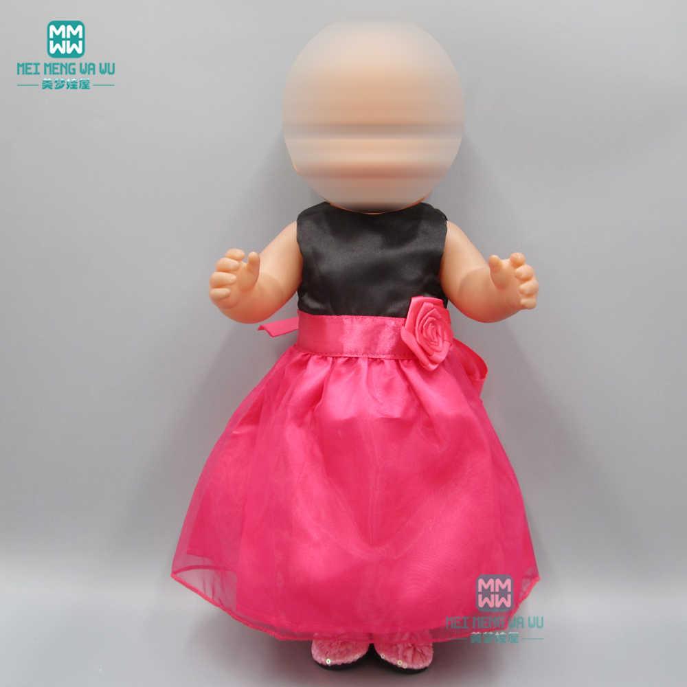 Bebek giysileri doll fit 43 cm yeni doğan bebek aksesuarları gül kırmızı prenses elbise bale gece elbisesi
